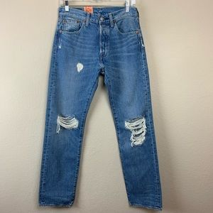 Levi's High Waisted 501 Distressed Denim Jeans